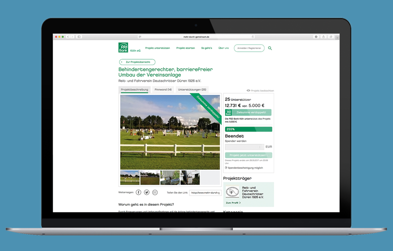 Die Spendenplattform der PSD Bank Köln: www.mehr-durch-gemeinsam.de