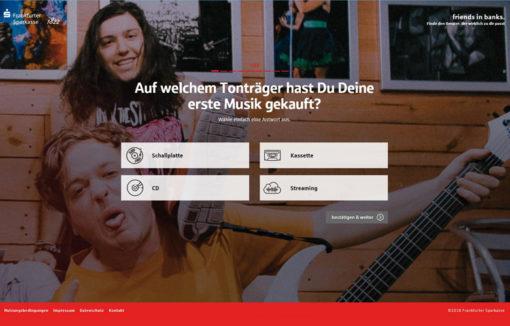 """Fragebogen der Plattform friends in bank der Frankfurter Sparkasse: """"Auf welchem Tonträger hast du deine erste Musik gekauft?"""""""