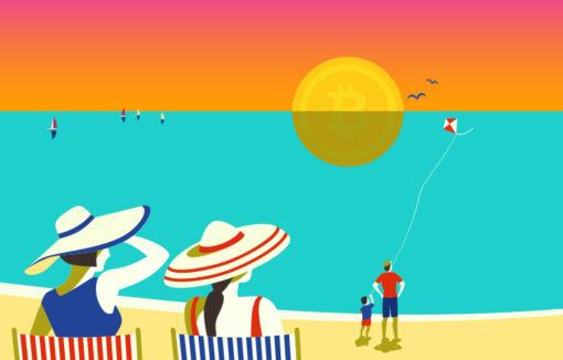 Menschen am Strand beobachten eine Bitcoin-Sonne, die am Horizont untergeht und vom Meer gespiegelt wird. Im Artikel beschreibt Nicole Jonat, wie sich die Postbank auf eine Entdeckungsreise auf dem Feld der Blockchain-Technologie begeben hat.