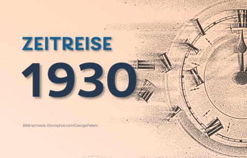 Zeitreise 1930 als Schrift mit Uhr