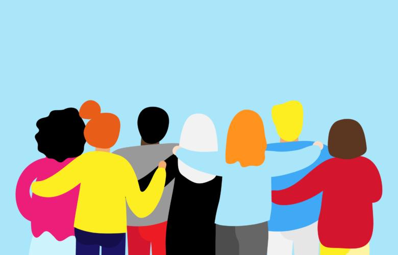 Grafik zum Aktionstag Tag des Glücks, Menschen halten sich im Arm
