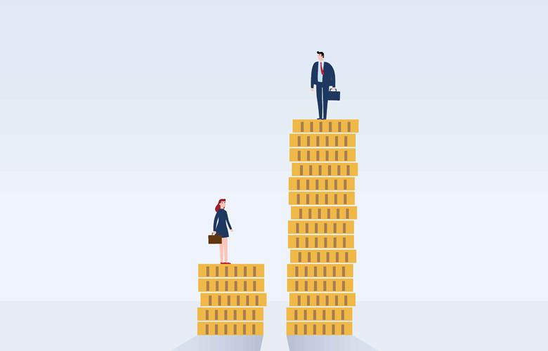 Geldstapel mit einer Frau und einem Mann symbolisieren die Gender Pay Gap