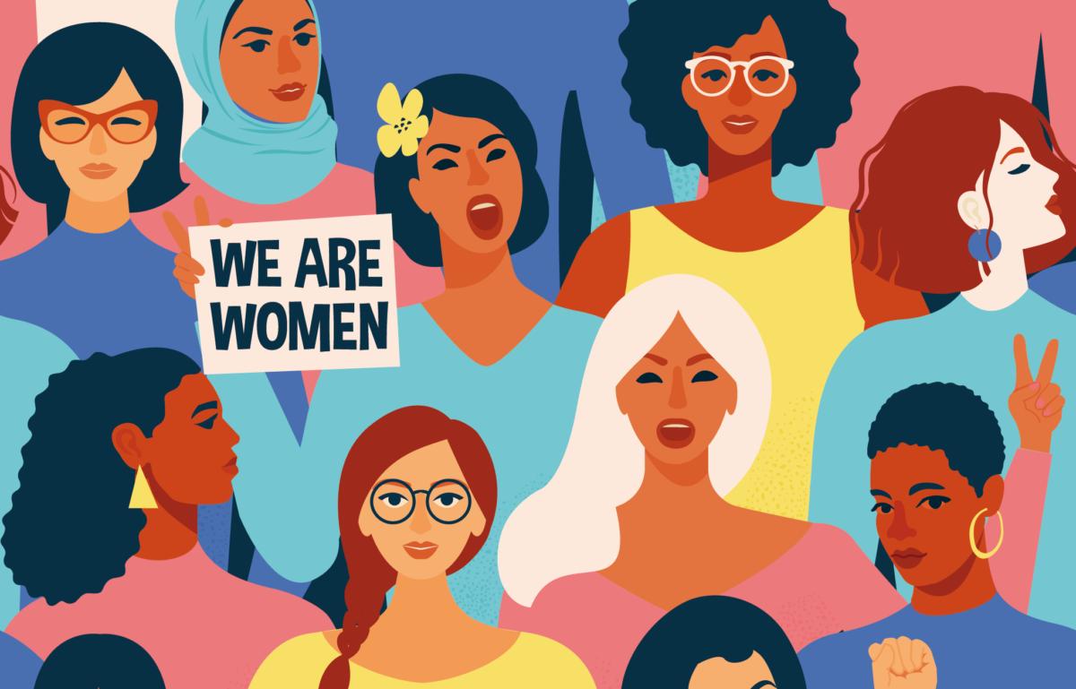 Frauen demonstrieren auf dem Internationalen Frauentag