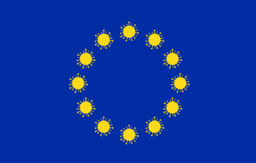 Wie sieht es mit der Zukunft der Europäischen Union aus? Was kommt nach der Krise? Euroflagge mit Viren als Sternen