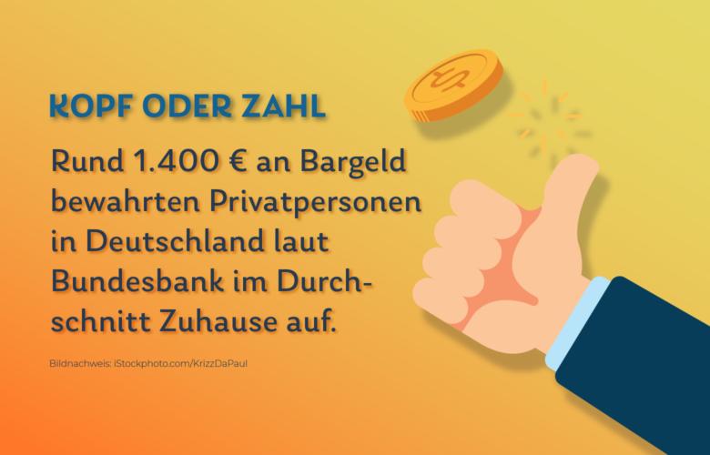 Rund 1.400 Euro an Bargeld bewahrten Privatpersonen in Deutschland laut Bundesbank 2018 durchschnittlich zu Hause oder in einem Schließfach auf, die Deutschen sparen also fleißig