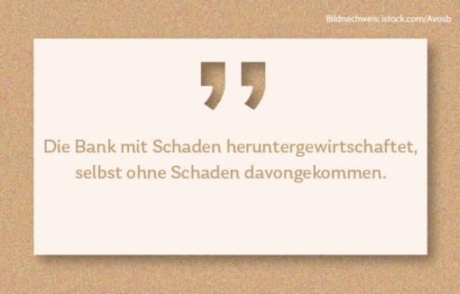 """Bei der Commerzbank gibt es derzeit einige Turbulenzen, wie Thorsten Hahn in Quer durch die Bank kommentiert, er sagt: """"Die Bank mit Schaden heruntergewirtschaftet, selbst ohne Schaden davongekommen."""