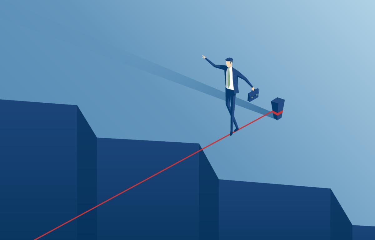 Mann geht über Seil, Balance, Change Management, Angst vor Veränderung