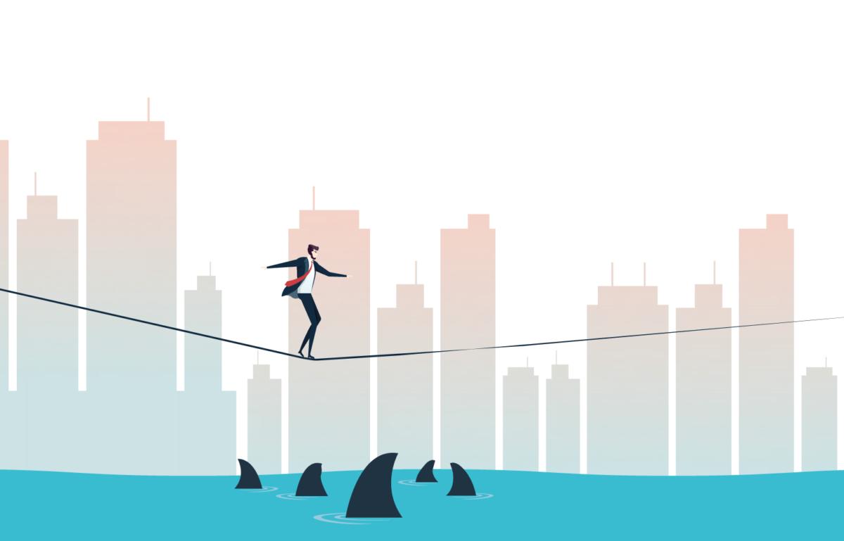 Mann auf einem Drahtseil, Equity Token Chancen und Risiken