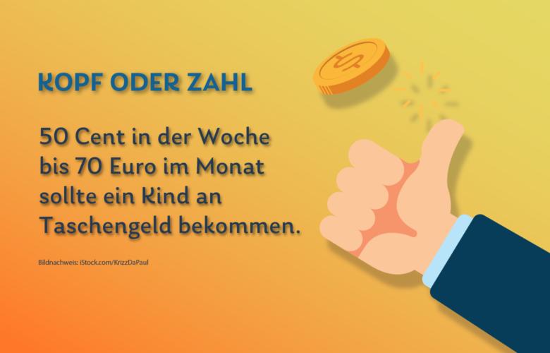 Taschengeld ist ein Weg, Kinder an einen verantwortungsvollen Umgang mit Geld heranzuführen. 50 Cent in der Woche bis 70 Euro im Monat sollte ein Kind bekommen