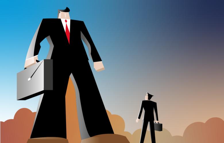 Übermacht eines Mannes gegenüber einem anderen, Techfin, Fintech, Banken