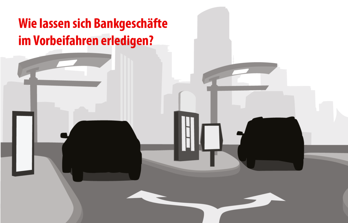 Autos am Drive-In, Autoschalter, Banken