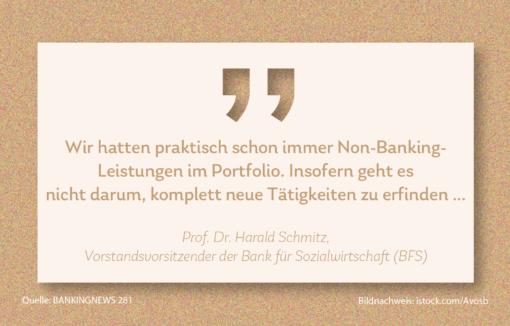 Harald Schmitz, Vorstandsvorsitzender der Bank für Sozialwirtschaft hat im BANKINGNEWS-Interview gesagt, dass die Bank schon immer Non Banking angeboten hat