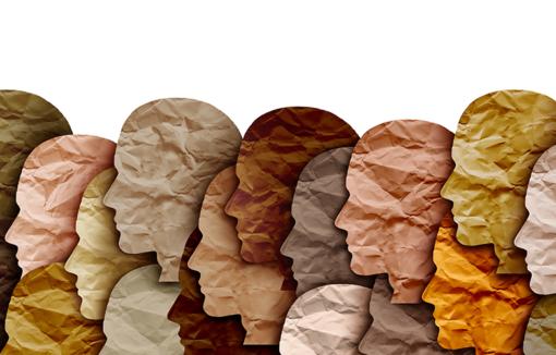 Collage verschiedenfarbiger Köpfe