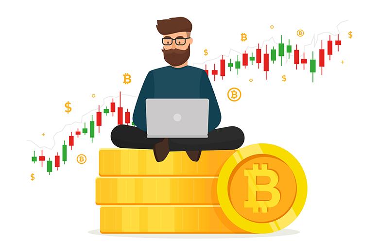 Ein junger Mann sitzt mit seinem Laptop auf Bitcoins.