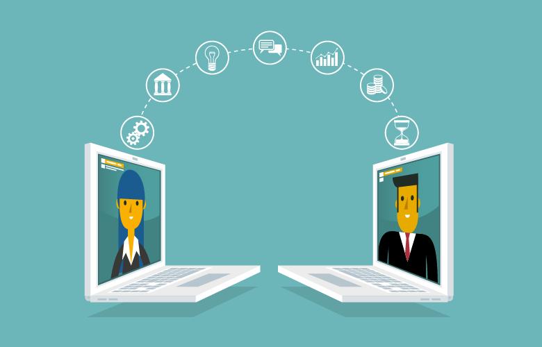 Führen im Homeoffice, Arbeiten über digitale Tools, Menschen kommunizieren über Computer