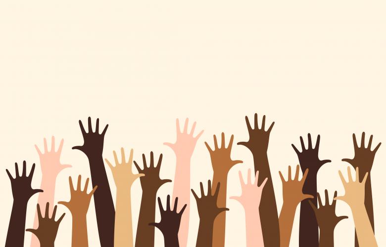Verschiedene Hände von Menschen unterschiedlicher Hautfarbe,Diversität Diversity