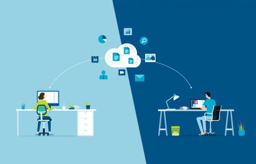 Menschen arbeiten zusammen über die Cloud, sind in verschiedenen Räumen in einem Modern Workplace