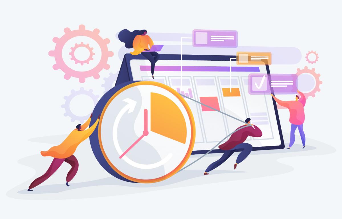 agile Organisationsenwicklung, Menschen arbeiten zusammen an einem Projekt, flexibel