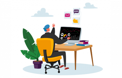 Geschäftsmann sitzt am Computer, Trader, Aktienhandel, Neobroker