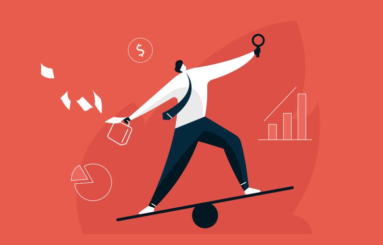 Geschäftsmann hält Balance über Arbeit und Leben, Multitasking-Managent, Vertrauen auf Gleichgewicht, Herausforderungen im Wealthmanagement