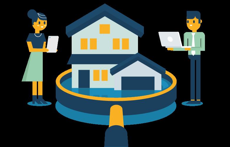 Marktrpeisschätzung eines Mehrfamilienhauses, Immobilienbewertung, Pre-Due-Dilligence, Menschen ermitteln den Wert eines Hauses, Banken