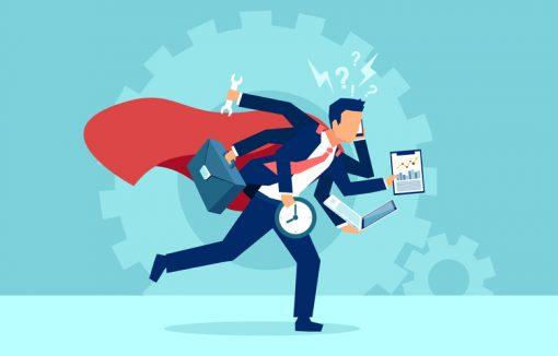 Geschäfts-Superman in Eile, Multitasking, Keine Zeit, Aufgaben rund um die Uhr, Arbeitsbelastung