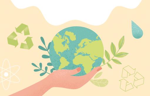 Geldpolitik für Klima: Grüner Globus in unseren Händen, Klimawandel und Nachhaltigkeit