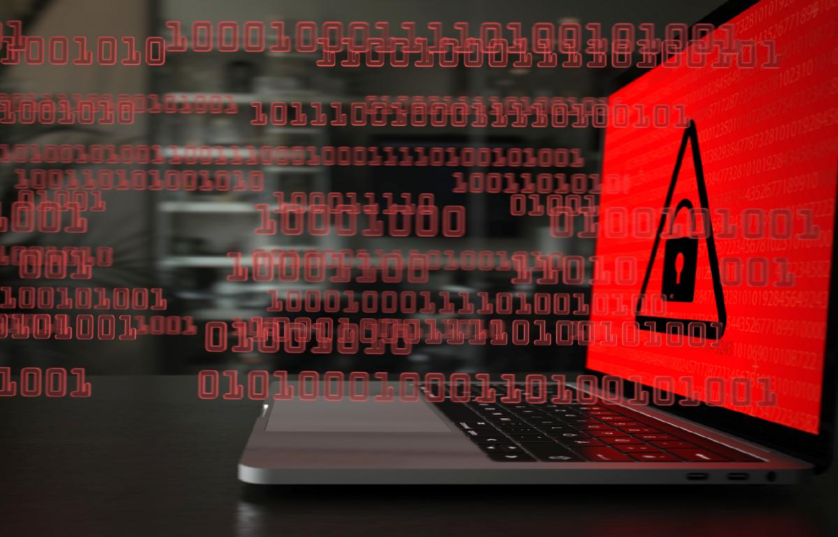 Ransomware-Angriff, Daten verschlüsselt, Computer gefährdet, Cybersicherheit